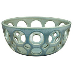 Green Pierced Ceramic Tabletop Bowl, in Stock