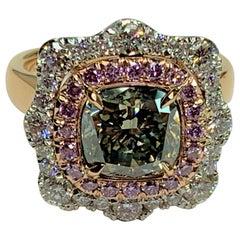 Green, Pink and White Diamonds Set in Platinum and 18 Karat Rose Gold Ring