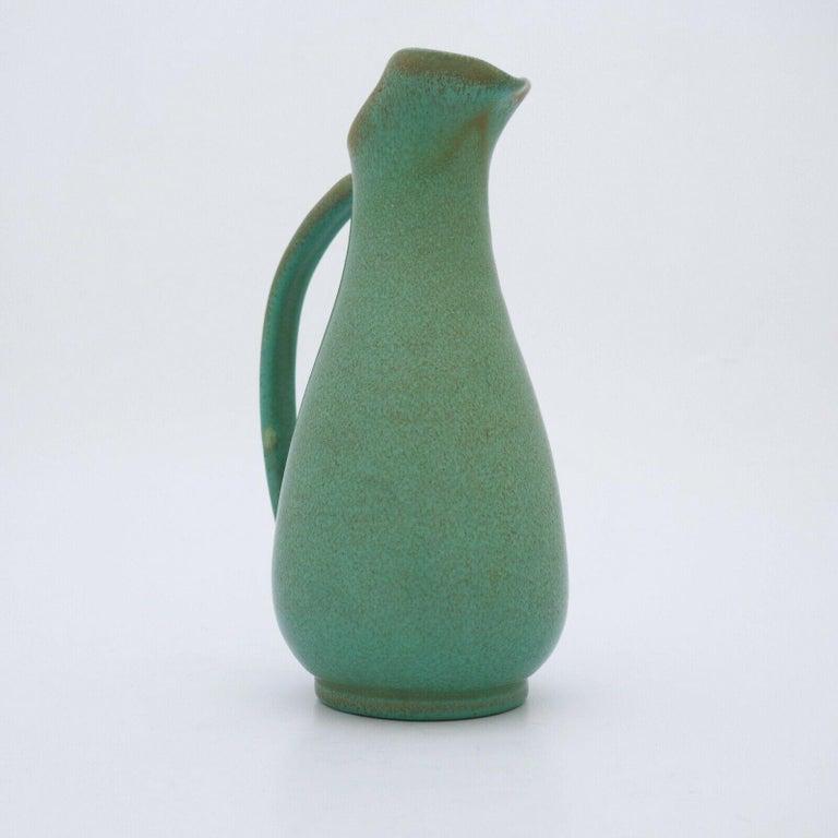 Scandinavian Modern Green Pitcher ceramics Ewald Dahlskog 1930s, Bo Fajans, Sweden For Sale