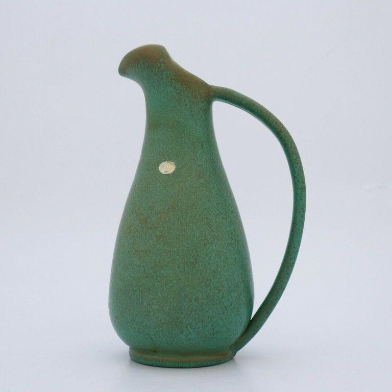 Swedish Green Pitcher ceramics Ewald Dahlskog 1930s, Bo Fajans, Sweden For Sale