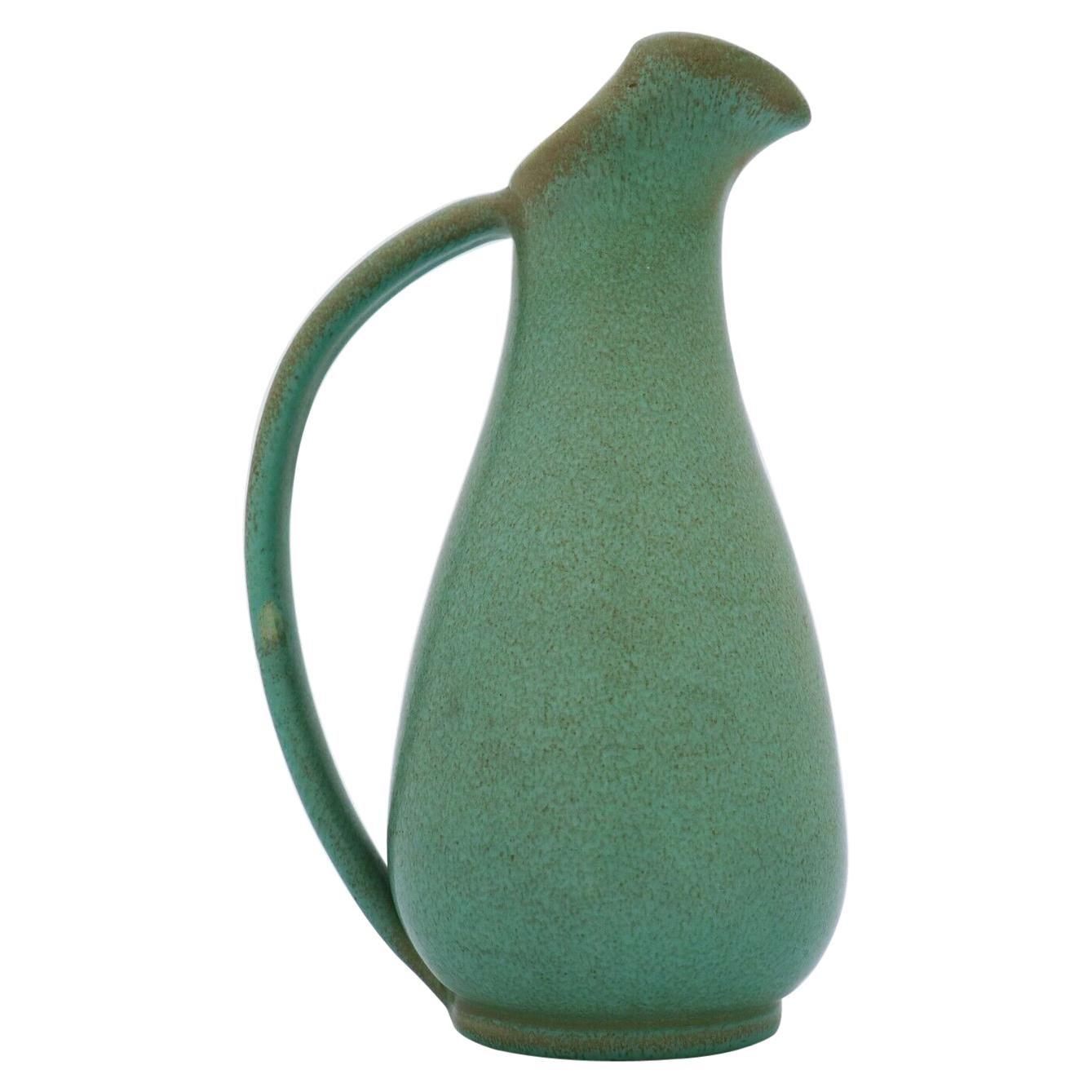 Green Pitcher ceramics Ewald Dahlskog 1930s, Bo Fajans, Sweden