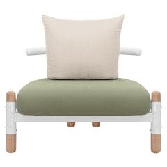 Green PK15 Single Seat Sofa, Carbon Steel Structure & Wood Legs by Paulo Kobylka