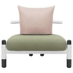 Green PK15 Single Seat Sofa, Steel Structure & Ebonized Legs by Paulo Kobylka