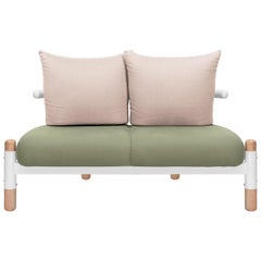 Green PK15 Two-Seat Sofa, Carbon Steel Structure & Wood Legs by Paulo Kobylka