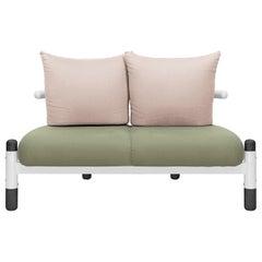 Green PK15 Two-Seat Sofa, Steel Structure & Ebonized Wood Legs by Paulo Kobylka
