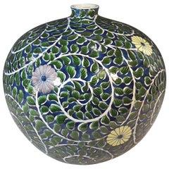 Green Porcelain Vase by Contemporary Japanese Master Artist