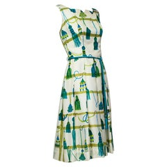 Green Printed Silk Christmas Ornament Cocktail Dress with Tassel Belt - M, 1960s