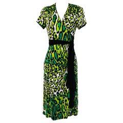Flora Kung green cheetah print silk jersey wrap HARPER dress
