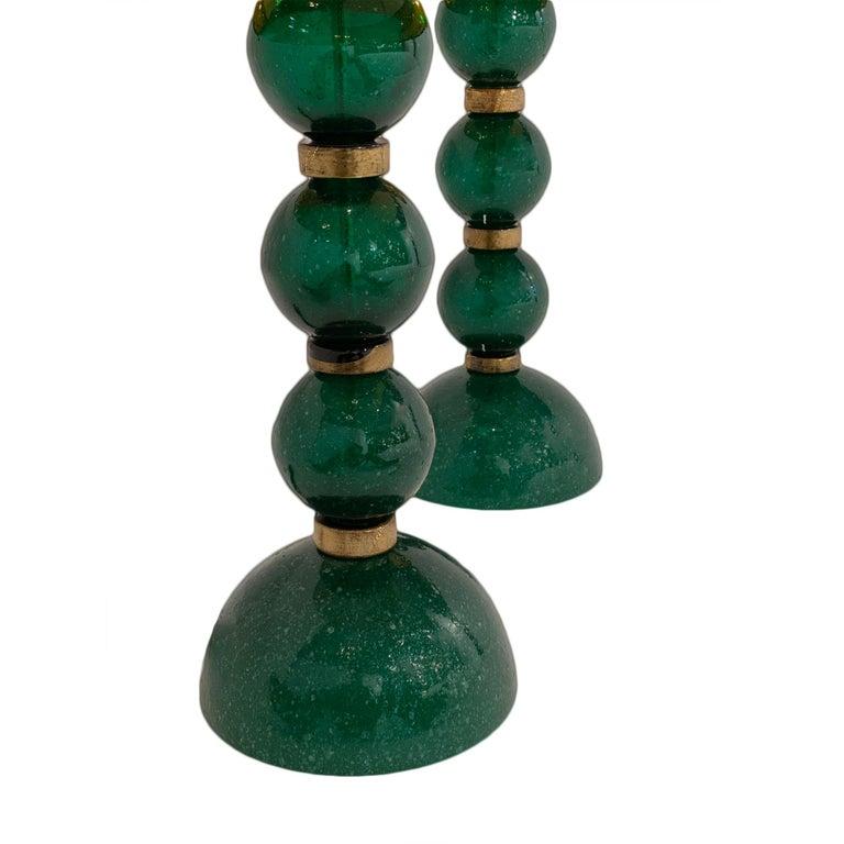 Italian Green Pulegoso Murano Glass Lamps For Sale