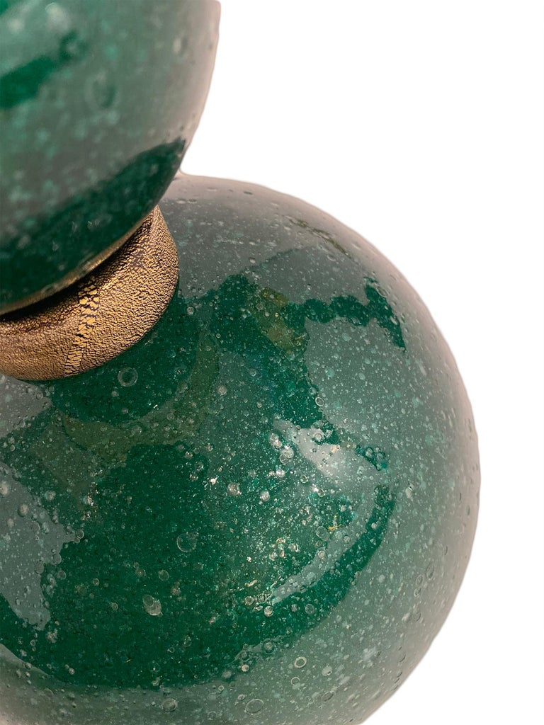 Green Pulegoso Murano Glass Lamps In Excellent Condition For Sale In Austin, TX