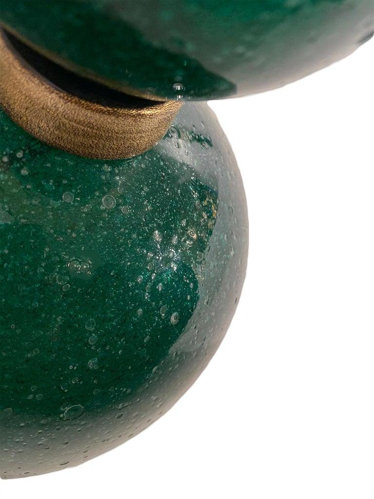 Contemporary Green Pulegoso Murano Glass Lamps For Sale