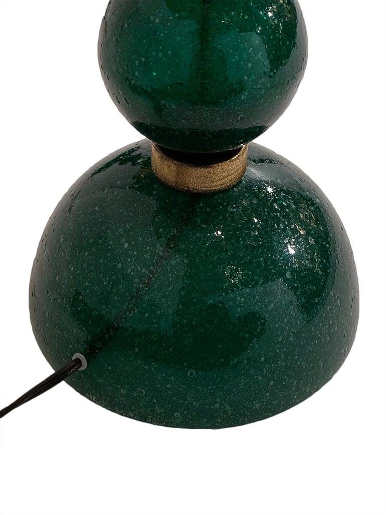 Green Pulegoso Murano Glass Lamps For Sale 1