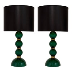 Green Pulegoso Murano Glass Lamps