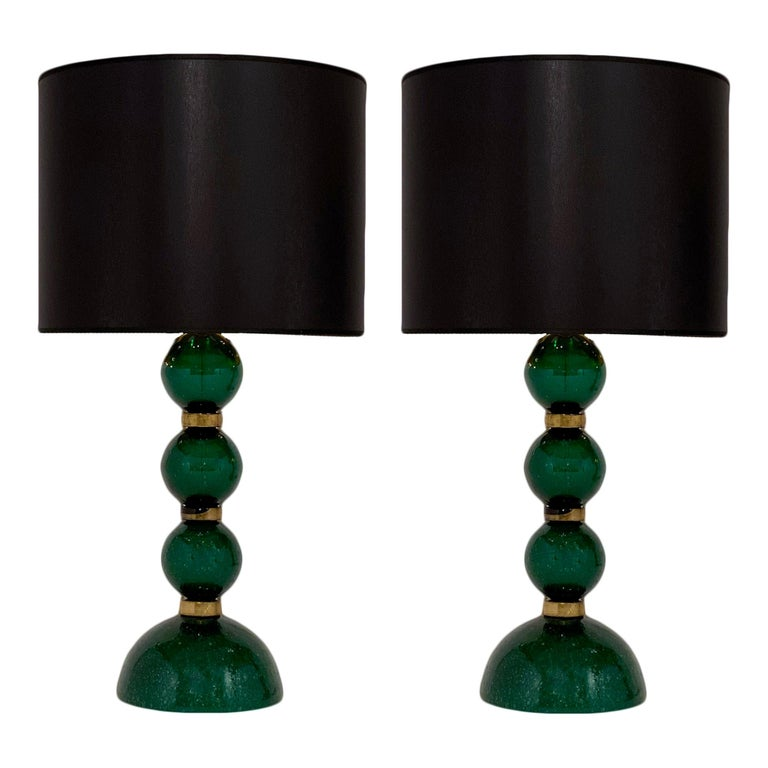 Green Pulegoso Murano Glass Lamps For Sale
