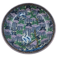 Green Purple Porcelain Deep Charger by Japanese Master Artist