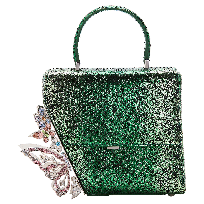 Green python handmade handle shoulder bag
