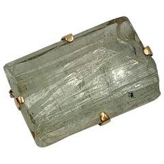 Green Quartz 18 Karat Gold Brooch Monumental Retro Mid-Century Modern