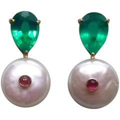 Green Quartz Baroque Fresh Water Pearls Ruby Cab 14 Karat Gold Stud Earrings