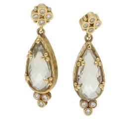 Green Quartz Diamond Drop Earrings