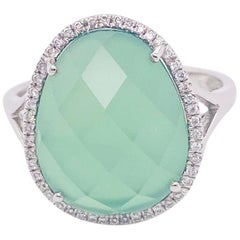 Green Quartz Diamond Ring, 14 Karat White Gold, Green Quartz, Bombe