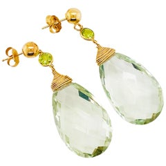 Green Quartz Earrings with Accent Peridot Gemstone Dangle Earrings 14 Karat Gold