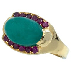 """Green Quartz """"Marquee"""" Ring with Partial Ruby Halo in 18 Karat Yellow Gold"""
