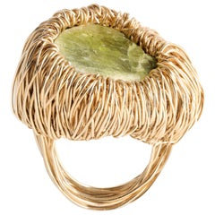 Green Raw Kyanite One of a Kind 14 Krt Yellow Gold F Cocktail Ring by the Artist