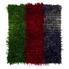 Vintage Mohair Wool Tulu Rug in Green, Red and Blue