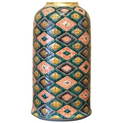 Green Red Yellow Porcelain Vase by Contemporary Japanese Master Artist