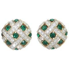 Green Rhinestone Gold Tone Clip On Earrings, 1980's
