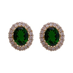 Green Russalite Diamond Earrings 5.25 Carat Russalite and Diamond-Both Natural