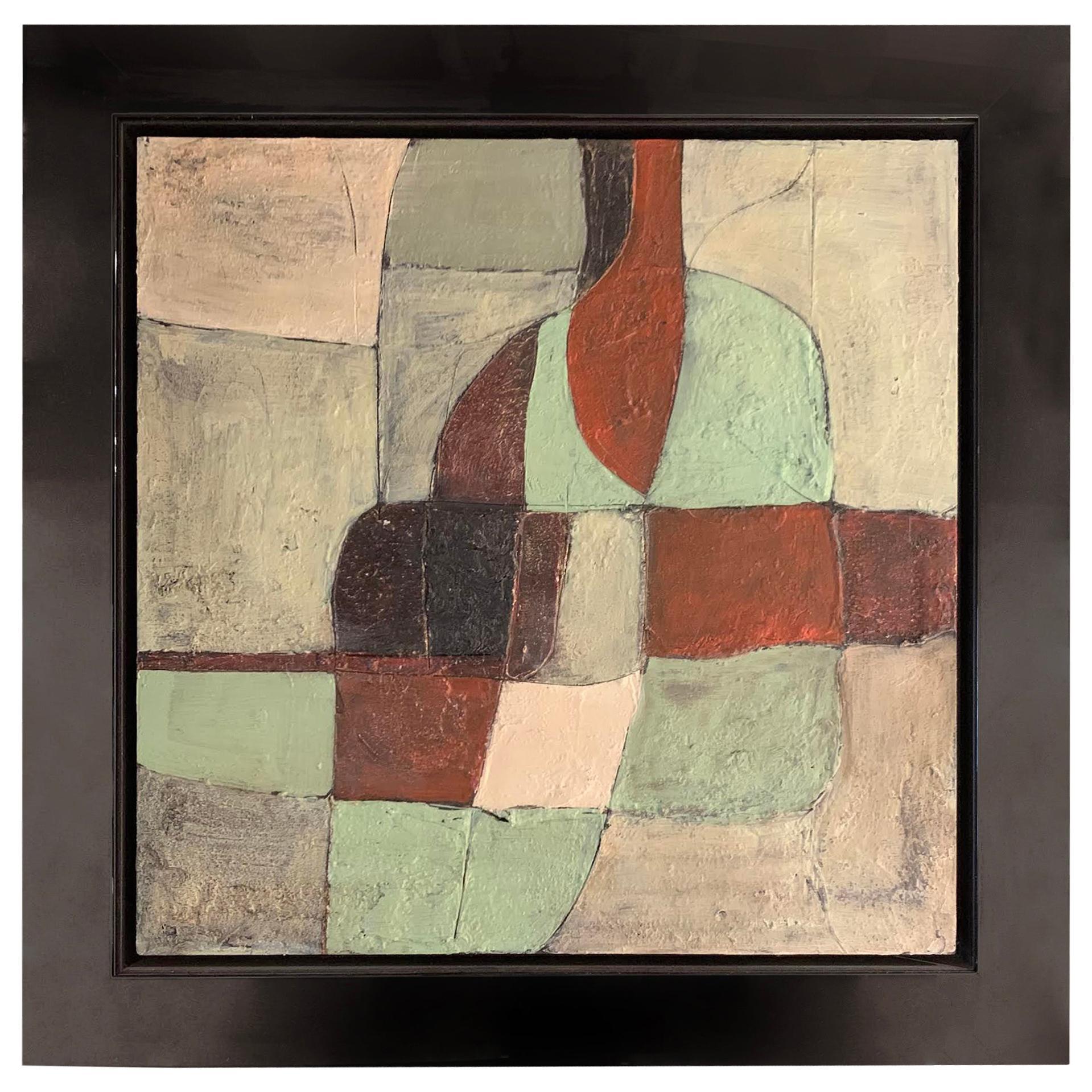 Green, Rust, Black Painting by Artist Santiago Castillo, Spain, Contemporary