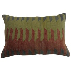 Green Rust Gray Lumbar Turkish Kilim Pillow
