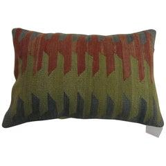 Green Rust Gray Lumbar Turkish Kilim Pillow