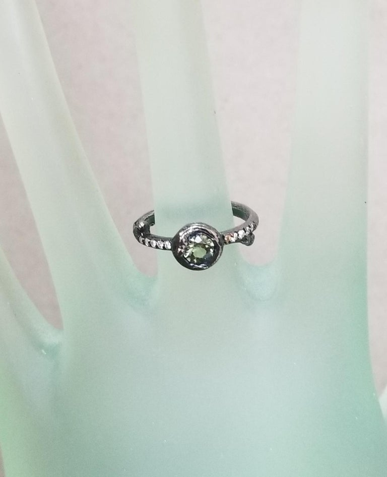 Green Sapphire and Diamond Bark Ring For Sale 1