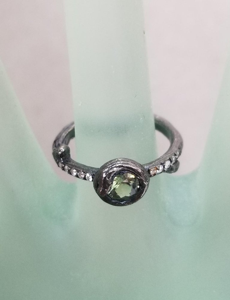Green Sapphire and Diamond Bark Ring For Sale 2