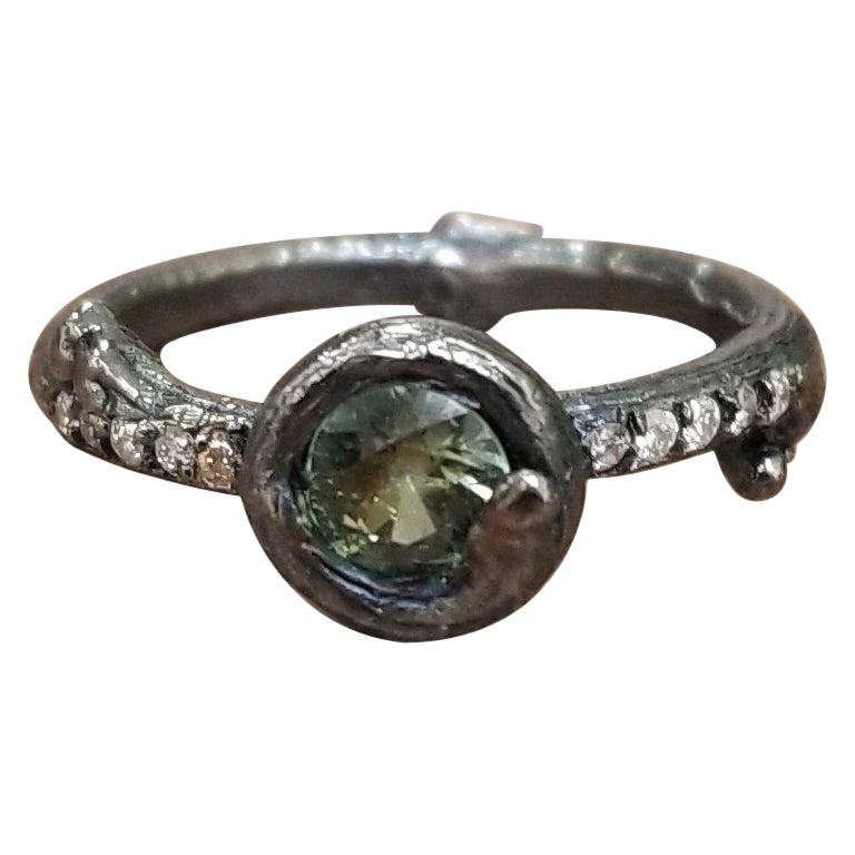 Green Sapphire and Diamond Bark Ring For Sale