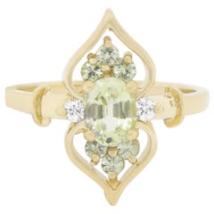 Green Sapphire and Diamond Marquise Shield Inspired Ring