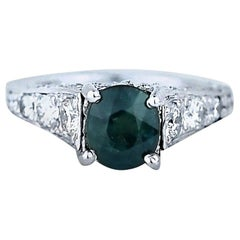 Green Sapphire and Diamond Solitaire Ring Platinum 3.54 Carat Total