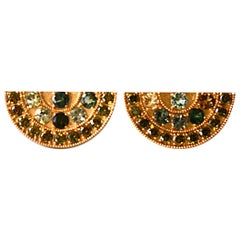 Green Sapphire and Peridot 18 Karat Gold Big Fan Earrings