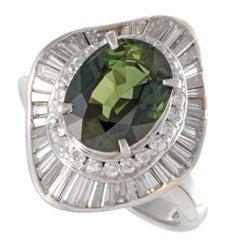 Green Sapphire and White Diamond Platinum Ring