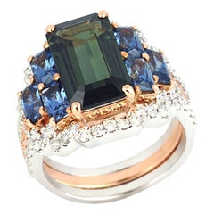 Green Sapphire, Blue Sapphire with Diamond Ring in 18 Karat White Gold/Pink Gold