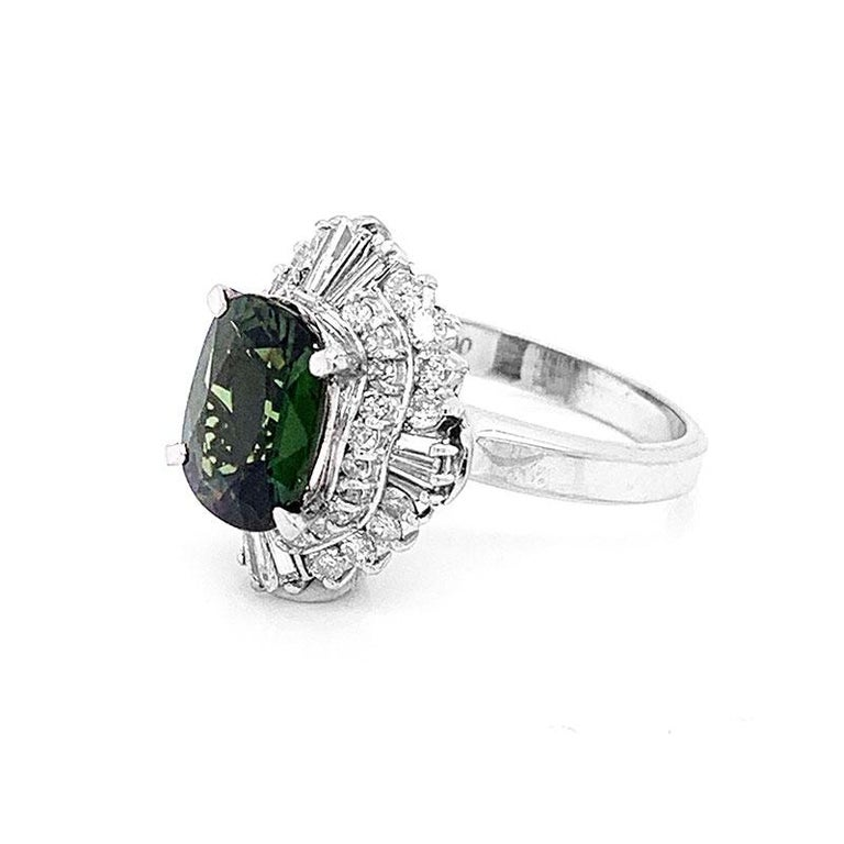 Green Sapphire Diamond Platinum Ring For Sale 1