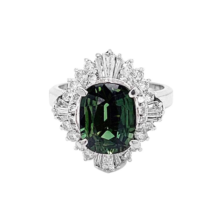 Green Sapphire Diamond Platinum Ring For Sale