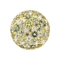 Green Sapphire Peridot Tourmaline Diamond Gold Round Ring