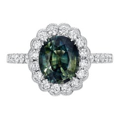 Green Sapphire Ring 2.80 Carat Oval