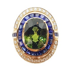 Green Sapphire with Blue Sapphire and Diamond Ring Set in 18 Karat Rose Gold