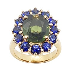 Green Sapphire with Blue Sapphire Ring Set in 18 Karat Rose Gold Settings
