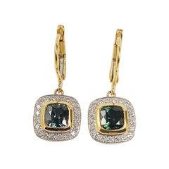 Green Sapphire with Diamond Earrings Set in 18 Karat Gold Settings