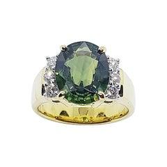 Green Sapphire with Diamond Ring Set in 18 Karat Gold Settings